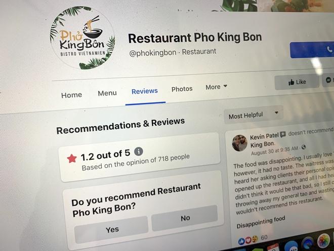 Phở King Bôn Bistro Vietnamien gặp làn sóng review xấu