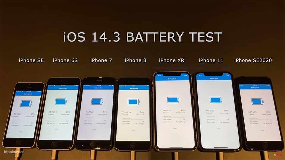 Kiểm tra mức độ pin của 7 dòng iphone khi dùng IOS 14.3