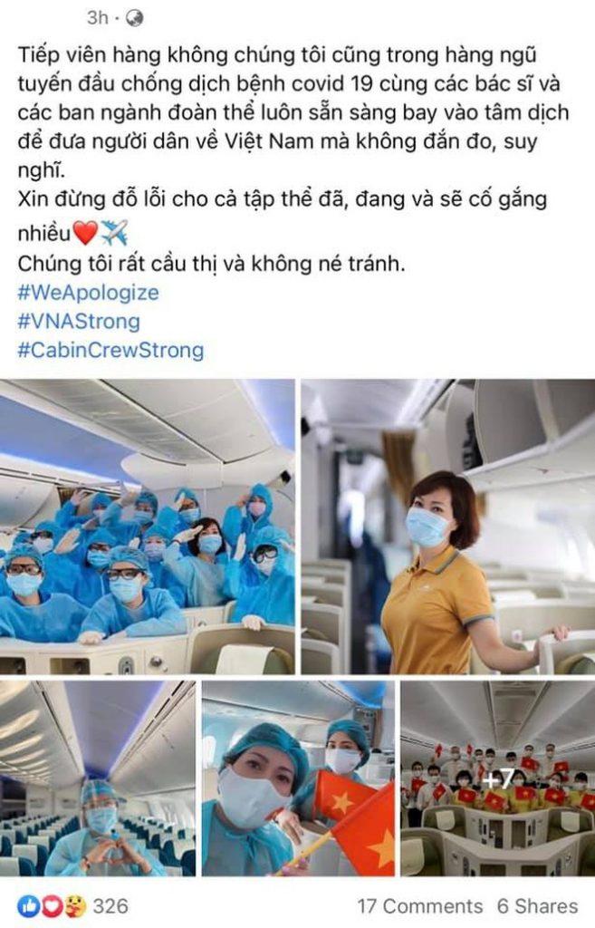 tiếp viên hàng không vietnam airlines hi vọng không bị kỳ thị và tiếp tục chống dịch