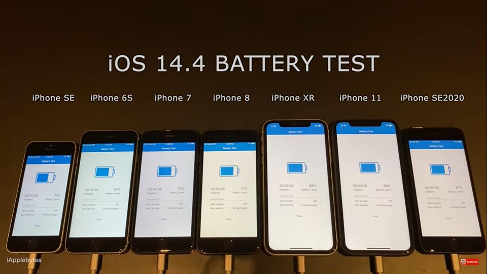 Thí nghiệm về độ bền pin của 7 dòng iphone tiếp tục được thực hiện với bản ios 14.4